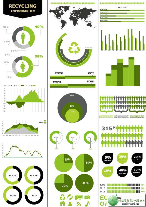 矢量素材下载:绿色数据信息图矢量素材