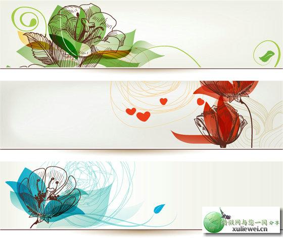 矢量素材下载:手绘花卉横幅设计矢量素材