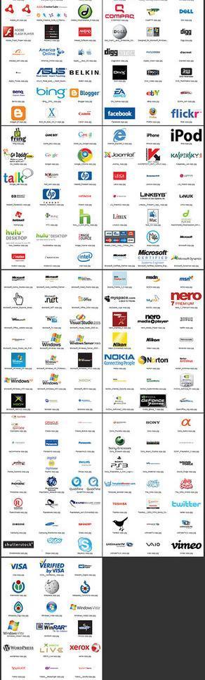 矢量素材下载:200个知名it企业logo图片