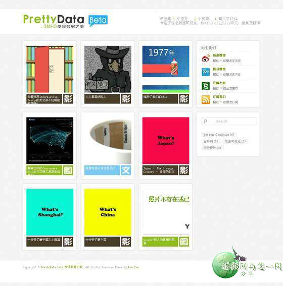 wordpress图片主题:中文图片prettydata主题免费下载