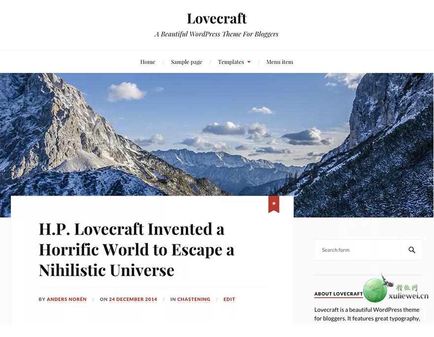 WordPress免费两栏博客主题:Lovecraft 1.16