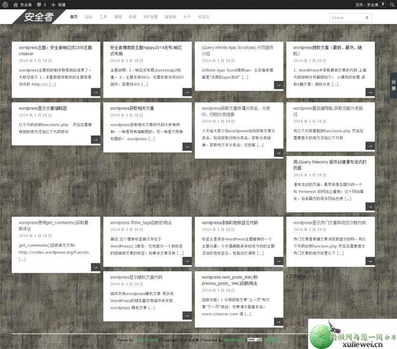 WordPress瀑布流主题:pinbin安全者白色网站模板