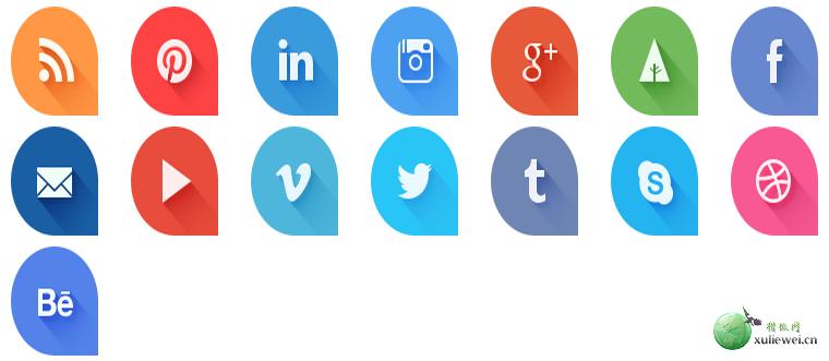 图标素材:Q型扁平社会化图标免费下载