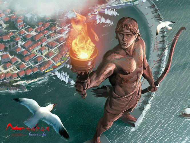 ldgjrdx 世界十大奇迹:罗德港巨人雕像