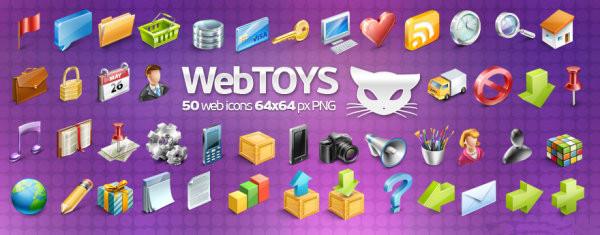 图标素材:Webtoys50个精美网页设计图标下载