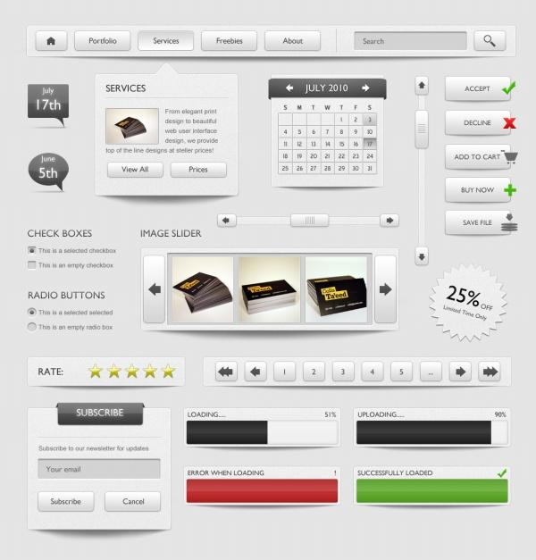 psd素材下载:灰色网页UI设计源文件